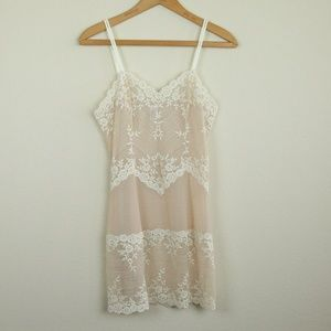 Wacoal Embrace Lace Chemise Nightgown Slip M Nude